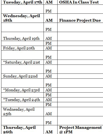 Alexis Chateau Study Plan Major Events